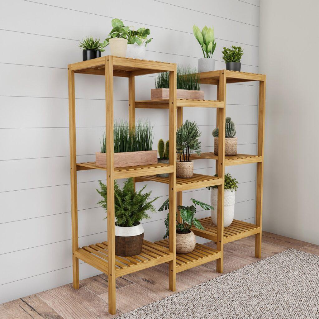 Kệ trồng cây thêm sức sống tươi vui trong ngôi nhà.