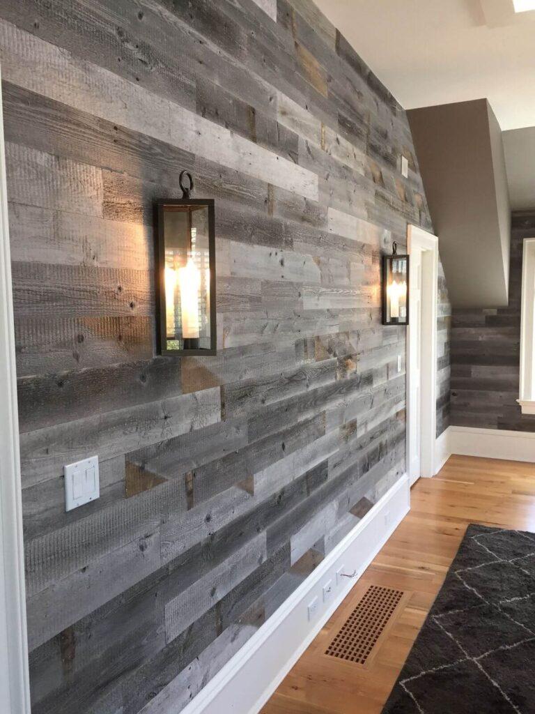 Ốp chất liệu sàn gỗ lên tường